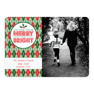 Argyle May Your Days Be Merry And Bright Photo Card