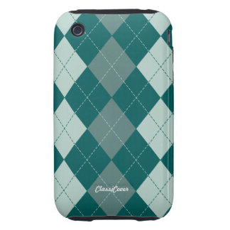 Argyle Misty Green Case Mate Tough iPhone 3 Covers
