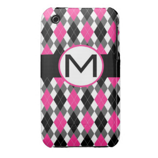 "Argyle Monogram iPhone Case ""M""- Hot Pink & Blac iPhone 3 Cover"