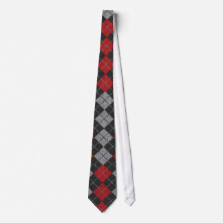 Argyle Necktie In Black, Red, And Gray