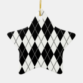 Argyle Pattern 1 Black and White Christmas Ornament