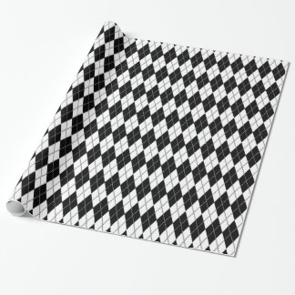 Argyle Pattern 1 Black and White Wrapping Paper