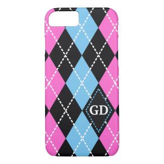 Argyle pattern black, pink, blue monogram iPhone 7 case