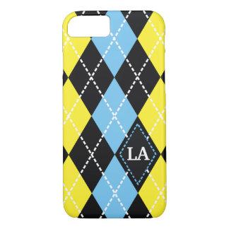 Argyle pattern black, yellow, blue monogram iPhone 7 case