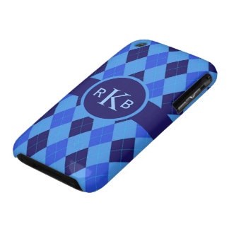 Argyle Pattern blue custom personalized initials Case-Mate iPhone 3 Case