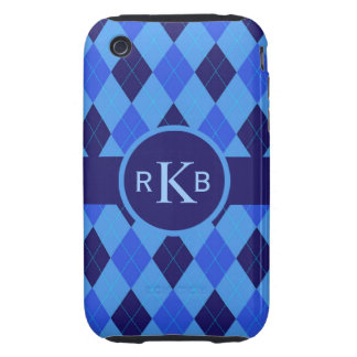 Argyle Pattern blue custom personalized initials Tough iPhone 3 Case