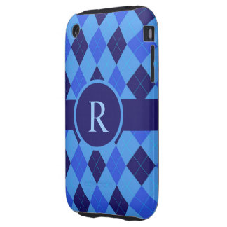 Argyle Pattern blue custom personalized monogram Tough iPhone 3 Covers