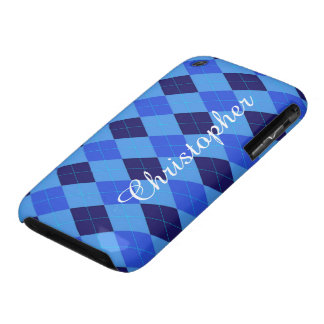 Argyle Pattern blue custom personalized name iPhone 3 Cover