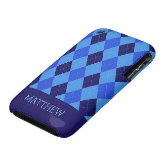 Argyle Pattern blue custom personalized name Case-Mate iPhone 3 Case