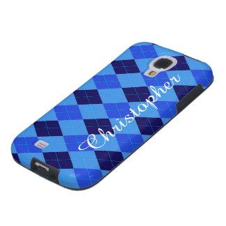 Argyle Pattern blue custom personalized name Galaxy S4 Case