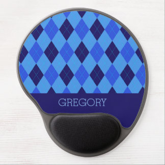 Argyle pattern blue custom, personalized name gel mouse mat