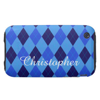 Argyle Pattern blue custom personalized name iPhone 3 Tough Cover