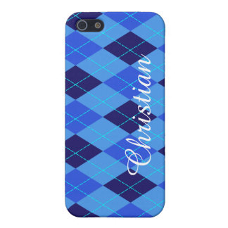 Argyle pattern blue custom personalized name iPhone 5/5S case