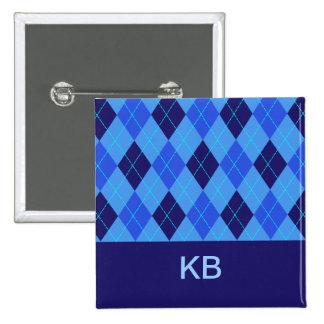 Argyle pattern blue personalised initial K B pin