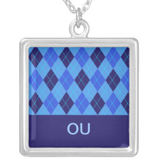 Argyle pattern blue personalised letter O necklace