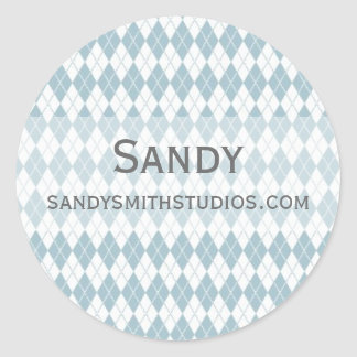 Argyle Pattern Classic Round Sticker