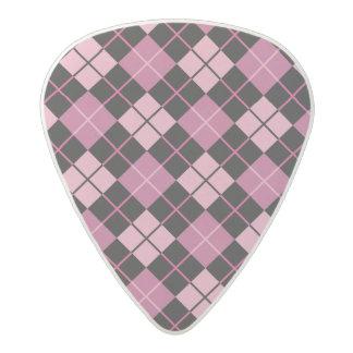 Argyle Pattern in Black and Pink Acetal Guitar Pick