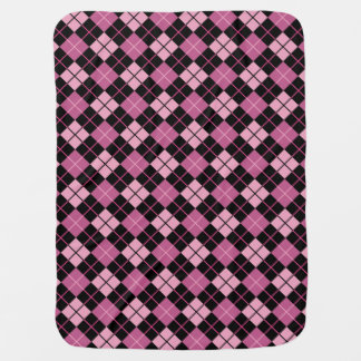 Argyle Pattern in Black and Pink Baby Blanket