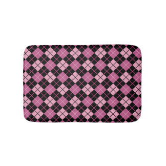 Argyle Pattern in Black and Pink Bath Mat
