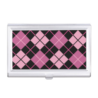 Argyle Pattern in Black and Pink Business Card Holder