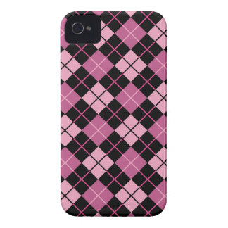 Argyle Pattern in Black and Pink Case-Mate iPhone 4 Case