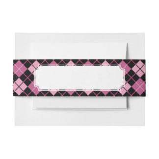Argyle Pattern in Black and Pink Invitation Belly Band