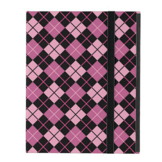 Argyle Pattern in Black and Pink iPad Folio Case
