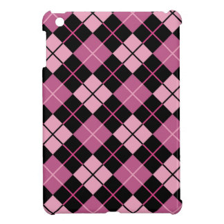 Argyle Pattern in Black and Pink iPad Mini Case