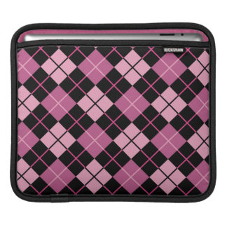 Argyle Pattern in Black and Pink iPad Sleeve