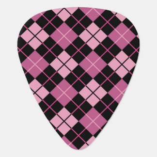 Argyle Pattern in Black and Pink Plectrum