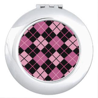 Argyle Pattern in Black and Pink Vanity Mirror