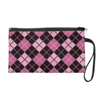 Argyle Pattern in Black and Pink Wristlet