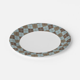 Argyle Pattern in Blue and Taupe 7 Inch Paper Plate