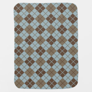 Argyle Pattern in Blue and Taupe Baby Blanket