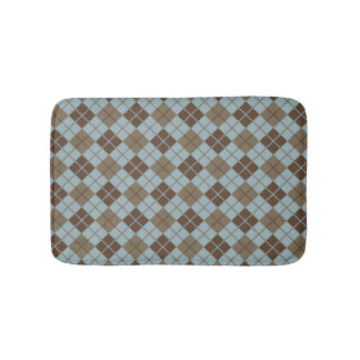 Argyle Pattern in Blue and Taupe Bath Mat