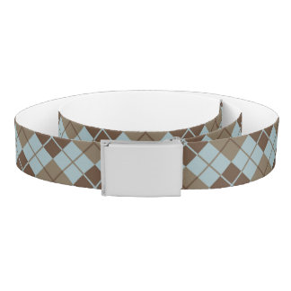 Argyle Pattern in Blue and Taupe Belt
