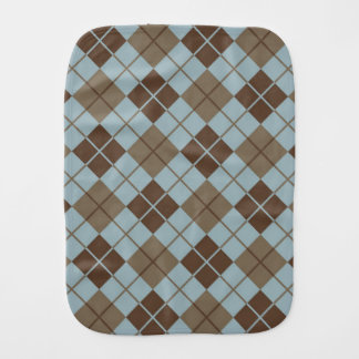 Argyle Pattern in Blue and Taupe Burp Cloth