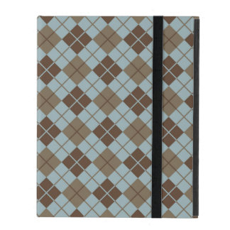 Argyle Pattern in Blue and Taupe Cases For iPad