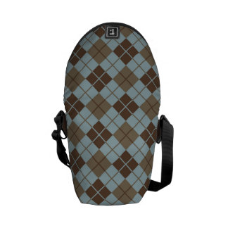 Argyle Pattern in Blue and Taupe Courier Bags