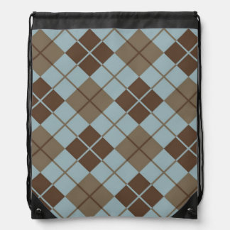 Argyle Pattern in Blue and Taupe Drawstring Bag