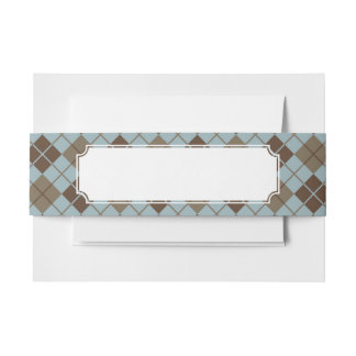 Argyle Pattern in Blue and Taupe Invitation Belly Band