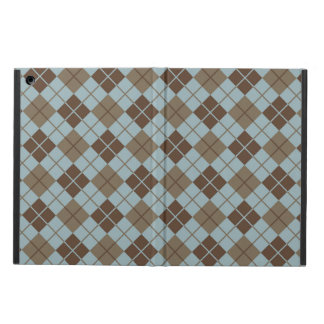 Argyle Pattern in Blue and Taupe iPad Air Cases