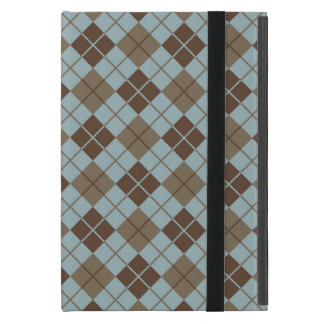 Argyle Pattern in Blue and Taupe iPad Mini Cover
