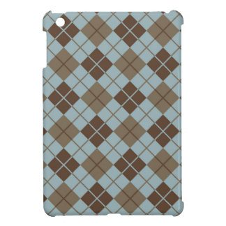 Argyle Pattern in Blue and Taupe iPad Mini Covers
