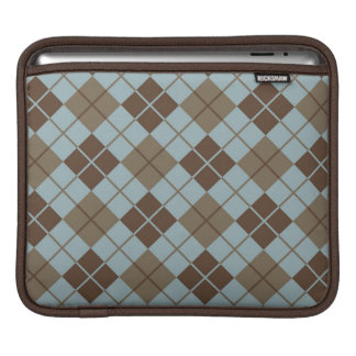Argyle Pattern in Blue and Taupe iPad Sleeve