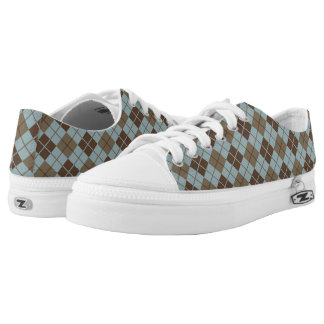Argyle Pattern in Blue and Taupe Low Tops