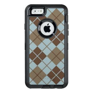 Argyle Pattern in Blue and Taupe OtterBox Defender iPhone Case