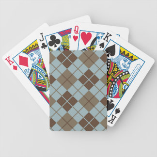 Argyle Pattern in Blue and Taupe Poker Deck