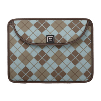 Argyle Pattern in Blue and Taupe Sleeve For MacBooks