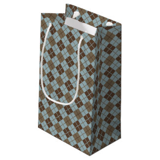 Argyle Pattern in Blue and Taupe Small Gift Bag